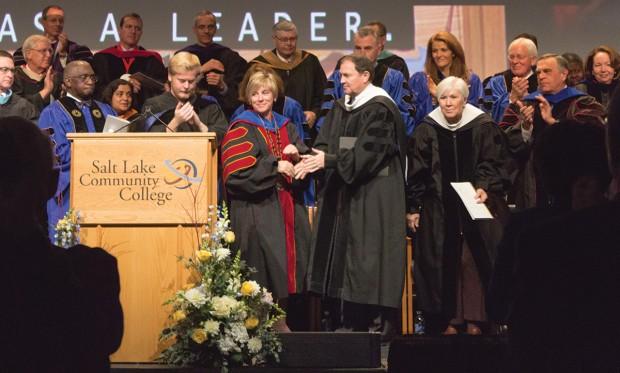 Gary Herbert shakes hands with Deneece Huftalin