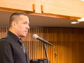 Joaquin Zihuatanejo speaking in the Oak Room of the Taylorsville Redwood Campus.