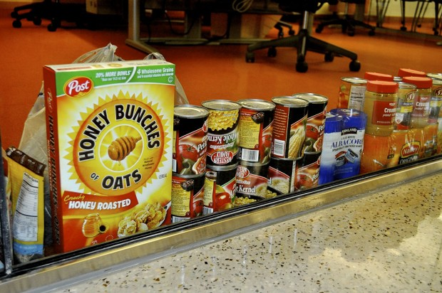Donated cereal, corn and other goods