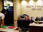 Health and Wellness employee Angie Volner, right, and student Sukhee Han