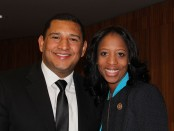 Mia Love, right, and Carlos Moreno