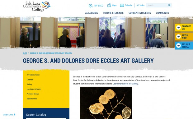 Screenshot of Eccles Art Gallery page on slcc.edu