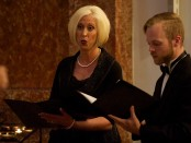 Students Bonnie Whitlock and Christian Lackman perform solos with Odyssey Chorale.
