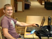 SLCC student Cory Garrett works on his on-line classes in between his in person classes