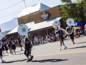 Tuba secton leads the Bruin Parade Band at Taylorsville Dayzz