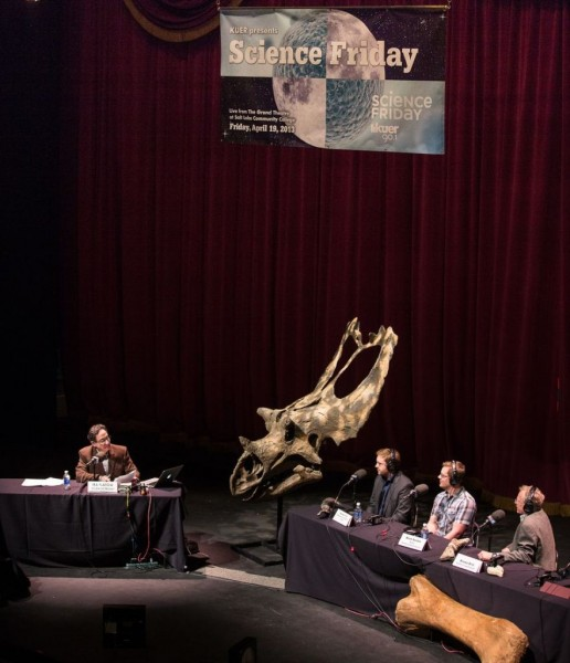 """From left to right: Ira Flatow, Utahceratops skull, Randall Irmis, curator of paleontology at the UNHM, Brian Switek, author of """"My Beloved Brontosaurus,"""" and Brooks Britt, associate professor from the Department of Geological Sciences at BYU."""