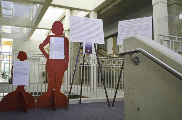 Silent Witness cutouts presented before visitors of the Markosian Library