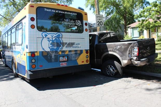 Crash damage to truck