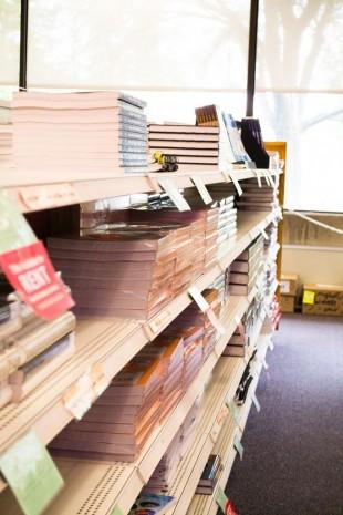 Textbooks sitting on shelves