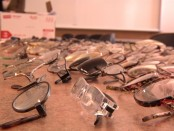 Pairs of eyeglasses on a table