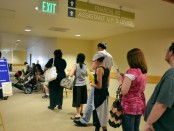 Financial Aid line at Redwood Campus