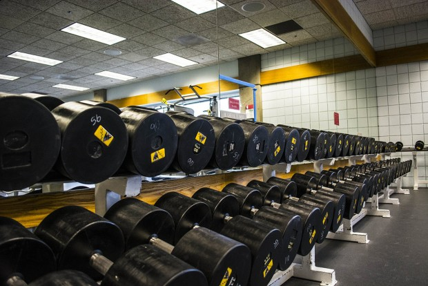 Weights stacked inside the LAC strength room