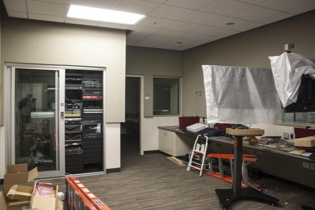 Inside the TV studio production area