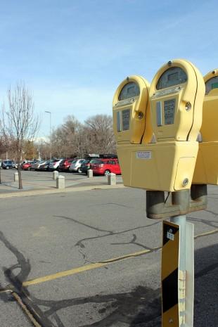 Parking meter on campus