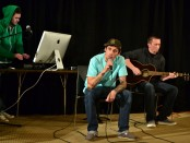 Jaren Gonzalez (center) and friends perform at the Songwriter's Showcase