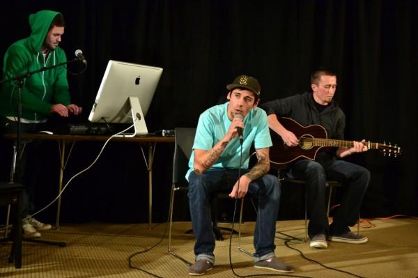Jaren Gonzalez (center) and friends perform at the Songwriter's Showcase
