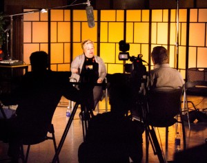 Students using the South City television study, guest pictured: Shahar Boyayan.