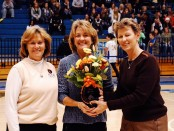 From left to right: SLCC President Cynthia Bioteau, Coach Betsy Specketer and Athletic Director Norma Carr.