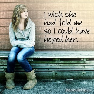 """A young woman leans against a wall as the words """"I wish she had told me so I could have helped her."""" are displayed to her right."""