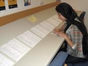 Marya Khan fills out a job slip