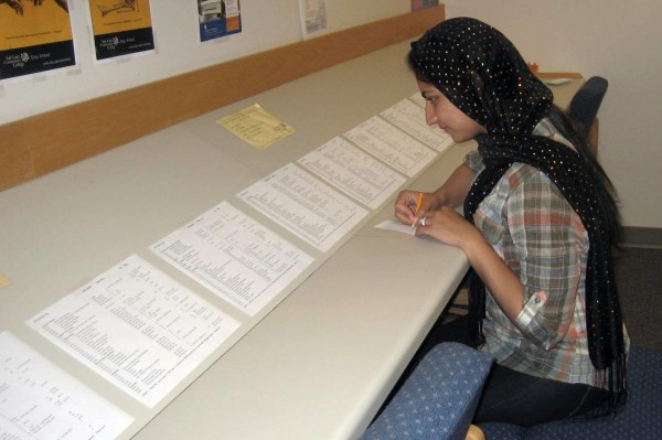 Marya Khan fills out a job slip