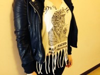 Shirt and leather jacket