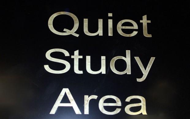 Quiet study area sign