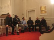 The panel from left to right, Ted Moore, Clifton Sanders, Josh Gold, Terence Johnson, Harold DeHorney and Lonzo Liggins.
