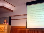 Deneece Huftalin announces a three to six percent tuition increase