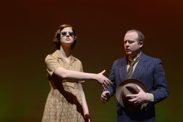 Stephanie Purcell and Jonathan McBride act in 'Voice on the Prairie'