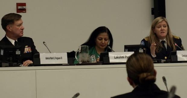 Photo of Admiral Mark Ferguson (left), Lakshmi Puri and Commissioner Ann-Marie Orler