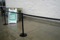 """Line Forms Here"" sign"