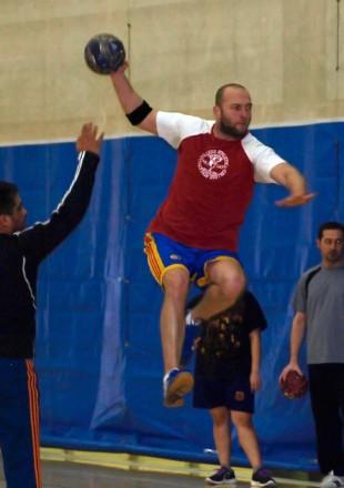 Handball player Vlad Gramma in air