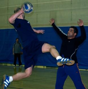 Handball players Giovanni Gramma and Stephane Grossi