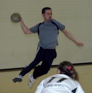 Handball player Mehmet Dilsiz in air