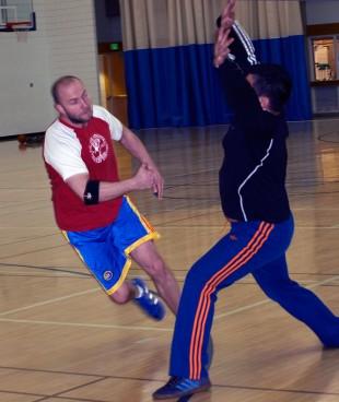 Handball match in SLCC gym