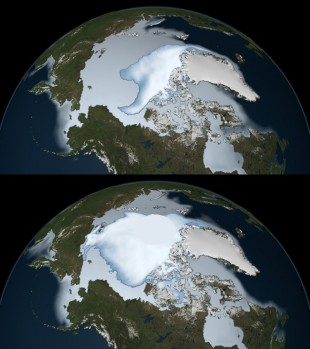 Sea ice change from 1980 and 2012
