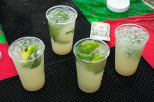 Cups of the mixed juice limeade sold at the Farmers Market.