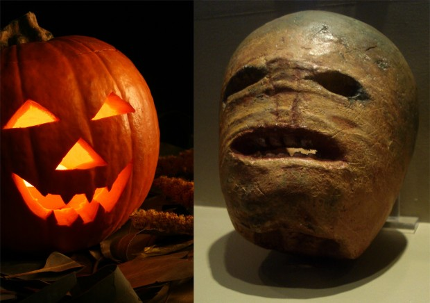 Side-by-side of a pumpkin jack-o'-lantern and a turnip jack-o-lantern of Ireland