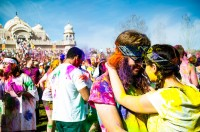 Lovers embrace at the Holi Color Festival in Spanish Fork