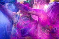 Engulfed in colored chalk at the Holi Color Festival in Spanish Fork