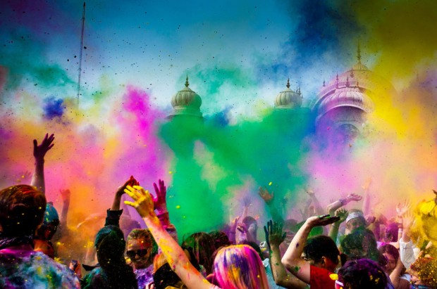 The color throw at the Holi Color Festival in Spanish Fork