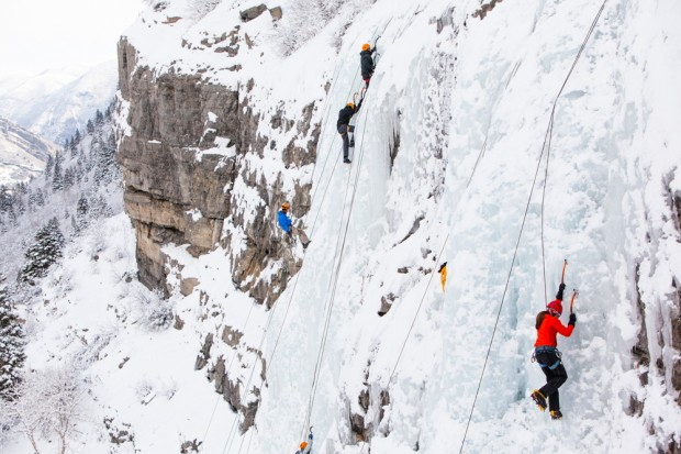 Several ice climbers scale the Bridal Veil Falls.