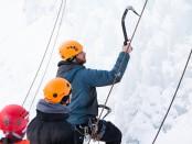 Dan Christopherson teaching climbers the correct way to swing an ice axe.