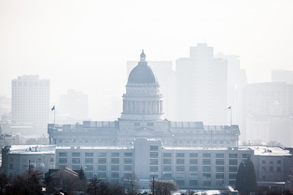 The Utah State Capitol in thick smog.