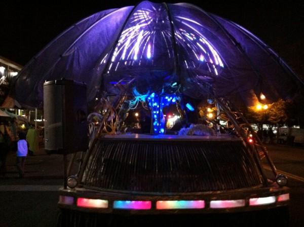 Jellyfish 12000 lit up at night