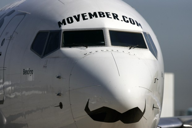 A Boeing 737-800 painted with a moustache to promote Movember back in 2011.