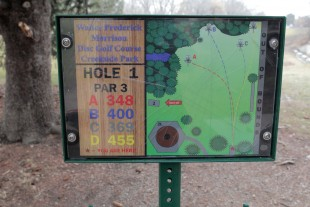 Walter Frederick Morrison Disc Golf Course sign - Hole 1