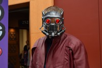 A Starlord cosplayer from the film Guardians of the Galaxy.