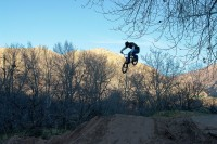 Getting some air on a dirt bike